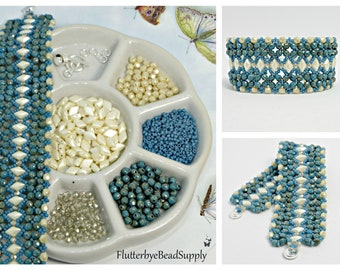 Turquoise Blue Picasso Bead Pack, Deb Roberti's Harlequin II Band Beaded Tutorial Sold Separately, DIY Jewelry Bead Supply