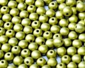 4mm Alabaster Metallic Olivine Czech Round Druk Spacer Beads (100pc), Light Green DIY Jewelry Bead Supply
