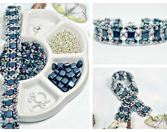 MiniDuo Dark Turquoise & Aqua Vitrail Bead Pack, Deb Roberti's MiniDuo Bands Bracelet Tutorial Sold Separately, DIY Jewelry, Bead Supply