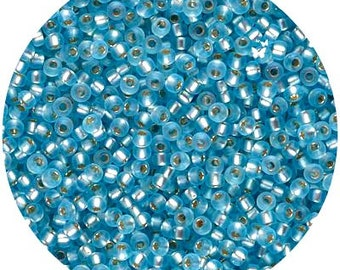 Size 11/0 Matte Silver Lined Aqua Color #11-18f, Miyuki Rocaille Seed Beads, 11-0018f, DIY Jewelry, Bead Supply