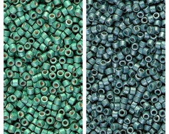 Miyuki Delica Seed Beads, Size 11/0 Galvanized Matte Dark Mint DB1171, Galvanized Matte Dark Aqua DB1172 (5gr), DIY Jewelry, Bead Supply