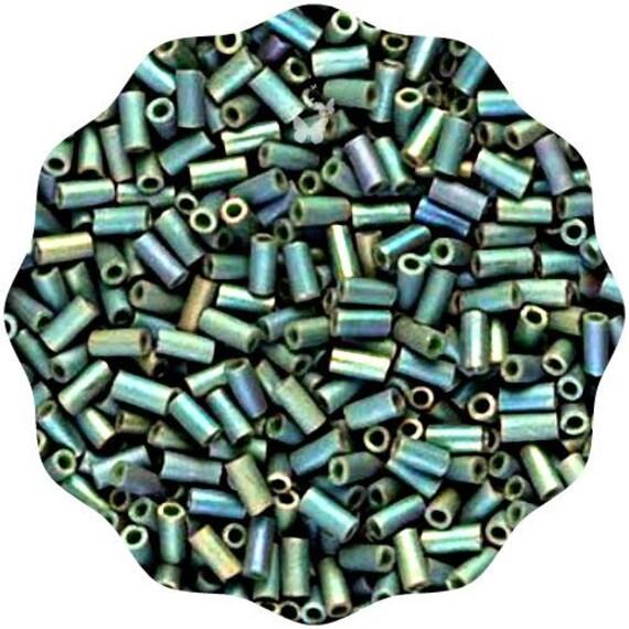 3mm Japanese seed beads Transparent Green Sage Luster Bugle 25Grams