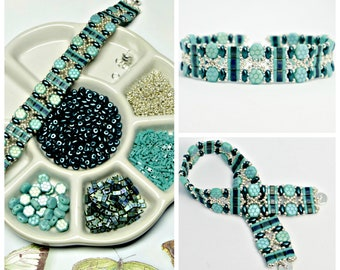 Turquoise Green & Chrysolite Bead Pack, Deb Roberti's Moroccan Bands Bracelet Tutorial Sold Separately, DIY Jewelry, Bead Supply