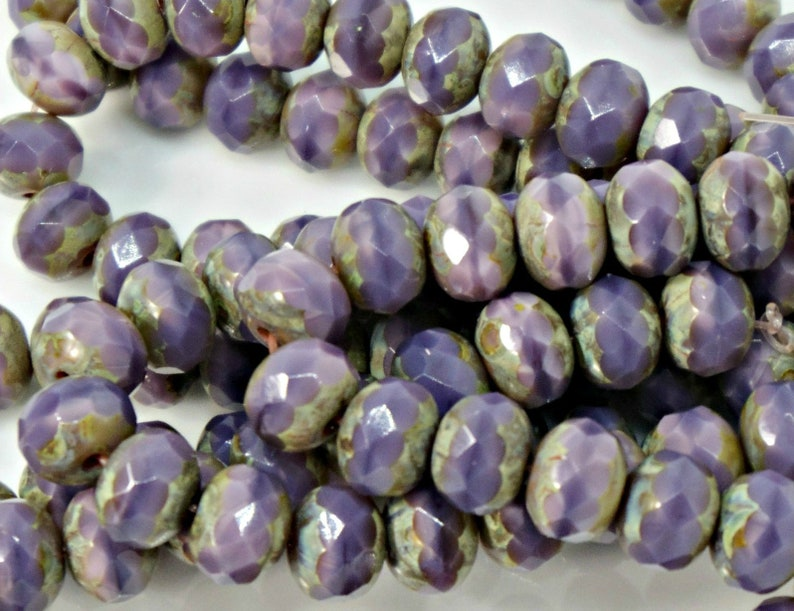 25pc DIY Jewelry Bead Supply 1 Full Strand 5x7mm Rondelle Thistle with Picasso Finished Czech Glass Beads
