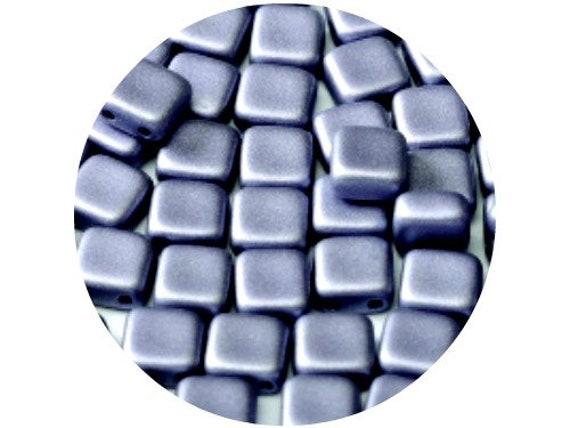 25pcs CzechMates Tile Beads 6mm Square Two Hole Polychrome Black Currant