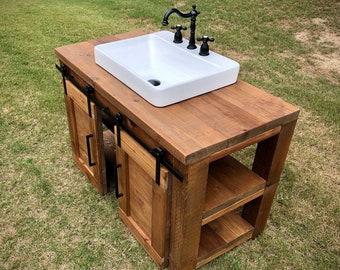 farmhouse bathroom vanity with sink etsy
