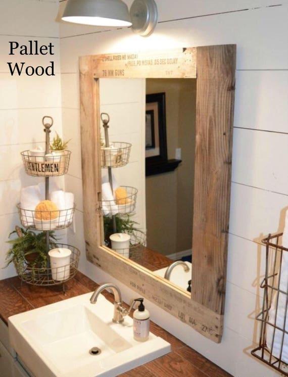 Vanity Mirror Bathroom Mirror Rustic Farmhouse Style Mirror Etsy
