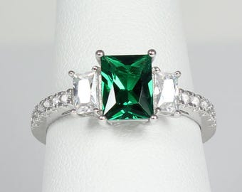 Emerald Sterling Silver Ring / Emerald Ring Silver
