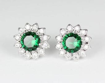 Emerald Earrings 14K White Gold-Filled / Emerald Earrings Studs
