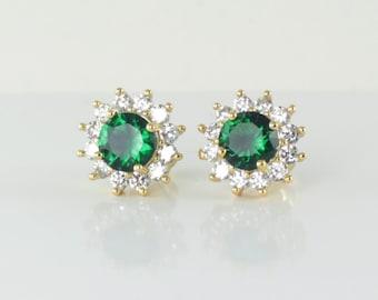 Emerald Earrings 14K Yellow Gold-Filled / Emerald Earrings Studs