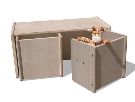 sehr stabil weiß oder naturbelassen 1 Kinder Wendetisch & 4 Wendehocker Set