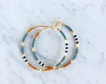 Small Multi Colored Beaded Hoop Earrings, Dainty hoop earrings, Small hoop earrings, Seed bead hoop earrings, Simple hoop earrings