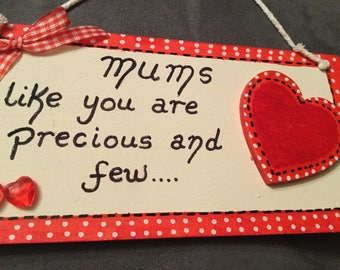 Mum heart plaque hanging sign red white hearts quote gift handmade