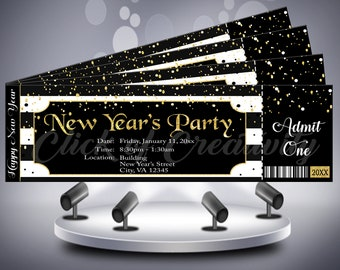 black and white new years party ticket invitation black and white ticket black and white stripe invitation new years party ticket