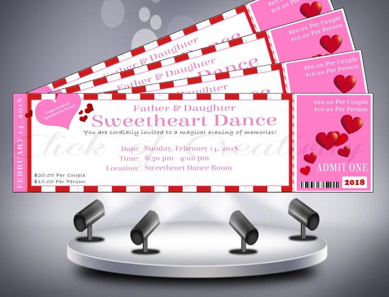 5c66980937 Valentine's Day Ticket Invitation Pink And White | Etsy
