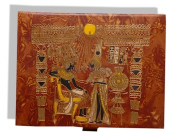depicting King Tut and Wife Pharaonic Ancient Egypt wooden hexagonal box handcrafted with natural precious materials