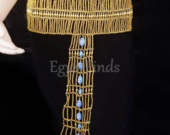 Beautiful Egyptian Golden Scarab beaded Cleopatra Belt