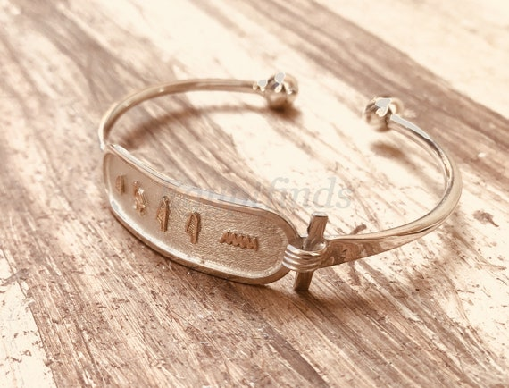 Details about  /Egyptian Wide Open Work Personalized Handmade Solid Silver Cartouche Bracelet