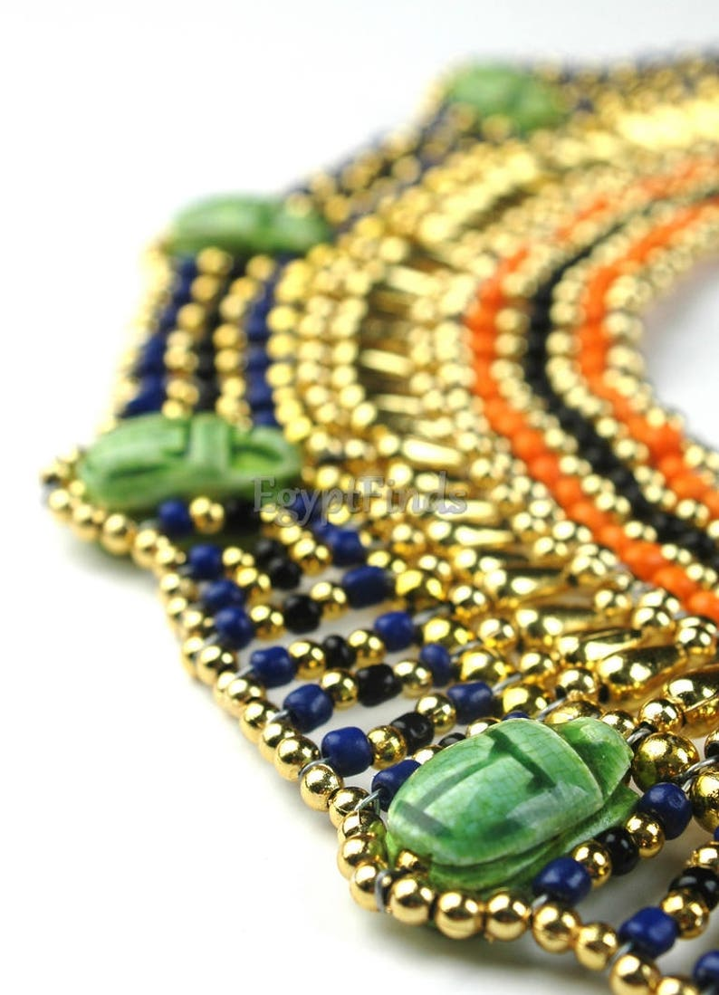 Superb Egyptian Beaded Cleopatra 7 Scarabs Necklace Collar