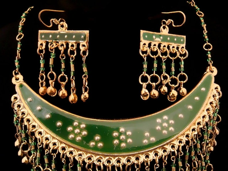 Unique Egyptian Half Moon Belly dance Tribal necklace /& earrings