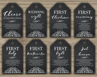 Milestone Wine Tags - Bridal Shower Gift Basket Tags - First Year Milestone Tags - INSTANT DOWNLOAD - Year Of Firsts - PRINTABLE - G002