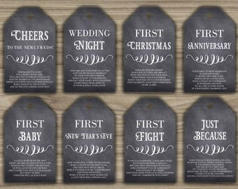 Milestone Wine Tags - Bridal Shower Gift Basket Tags - First Year Milestone Tags - INSTANT DOWNLOAD - Year Of Firsts - PRINTABLE - 0025