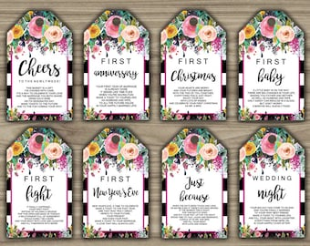Black & White - Floral - Milestone Wine Tags - Bridal Shower Gift Basket Tags - First Year Milestone - INSTANT DOWNLOAD - PRINTABLE - L11