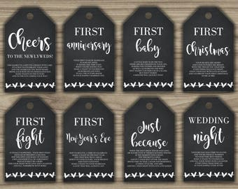 Milestone Wine Tags - Bridal Shower Gift Basket Tags - First Year Milestone Tags - INSTANT DOWNLOAD - Year Of Firsts - PRINTABLE - G003