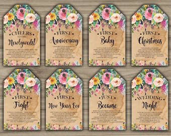 Milestone Wine Tags - Floral - Boho - Bridal Shower - Gift Basket Tags - First Year Milestones - INSTANT DOWNLOAD - PRINTABLE - L81
