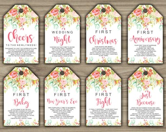 Milestone Wine Tags - Pink - Floral - Bridal Shower - Gift Basket Tags - First Year Milestones - INSTANT DOWNLOAD - PRINTABLE - G006