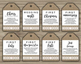 Burlap and Lace - Milestone Wine Tags - Bridal Shower Gift Basket Tags - First Year Milestone - INSTANT DOWNLOAD - PRINTABLE - Firsts - L46