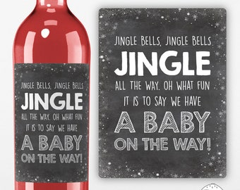 PRINTED - Christmas Wine Label, Sticker, Pregnancy Announcement, Jingle Bells, Baby On The Way, We're Pregnant, XN035