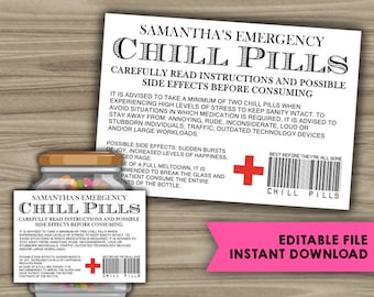 picture relating to Printable Chill Pill Label titled Chill drugs Etsy