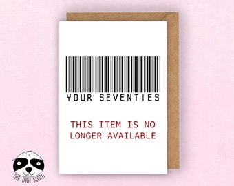 Funny 80th Birthday Card Eighty Eightieth Your 70s No Longer Available Expired Barcode For Friend 80