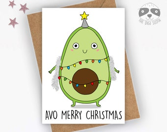 Funny Christmas Card, Avocado, Avo Merry Christmas, Funny Vegan Christmas Card, Pun, Joke Card for Friend Colleague Boss Coworker - XM019