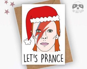 Funny Christmas Card, David Bowie Card, Let's Prance, Music Pun, Family Friend Colleague Coworker, Print, Music Lover, Bowie Gift - XM031