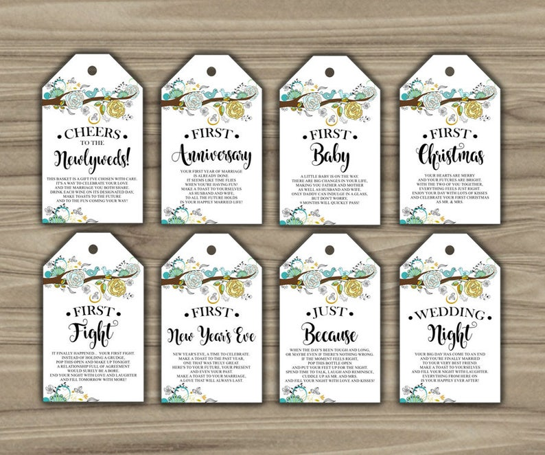 graphic regarding Printable Wine Tags for Bridal Shower Gift identified as Milestone Wine Tags - Lovebirds - Bridal Shower - Reward Basket Tags - Initial Calendar year Milestones - Quick Down load - PRINTABLE - L82