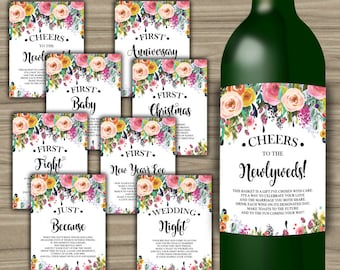 Milestone Wine Labels - Floral - Bridal Shower - Gift Basket - First Year Milestones - INSTANT DOWNLOAD - Year Of Firsts - PRINTABLE - L59