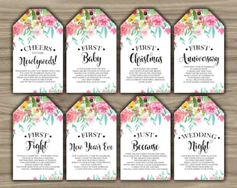 Milestone Wine Tags - Floral - Watercolor - Bridal Shower - Gift Basket Tags - First Year Milestones - INSTANT DOWNLOAD - PRINTABLE - L89