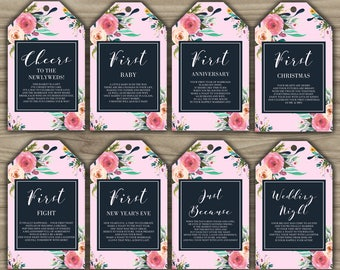 Milestone Wine Tags - Floral - Pink - Bridal Shower - Gift Basket Tags - First Year Milestones - INSTANT DOWNLOAD - PRINTABLE - W038