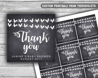 Custom - Baby Shower - Thank You Tags - Printable - Chalkboard - Hearts - Baby Shower Tags - Personalized - 041