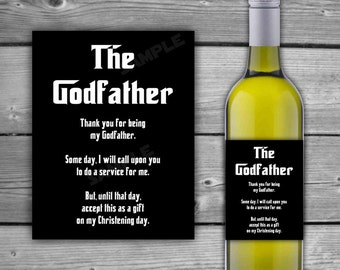 PRINTABLE - Godfather Wine Label - Godfather Thank You - Printable Wine Label - INSTANT DOWNLOAD - Thank You For Being My Godfather - 0085