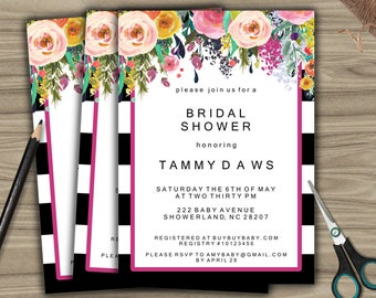 Personalized Bridal Shower Invitation - PRINTABLE - DIY - Custom Bridal Shower Invite - Black and White - Floral - L11