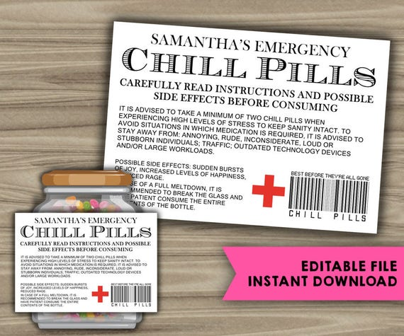 picture regarding Chill Pill Printable Label referred to as EDITABLE - Prompt Obtain - Chill Supplements Printable Label - Humorous Present - Xmas Reward For Manager - CoWorker - Hard work Office environment Gag Present - PL10
