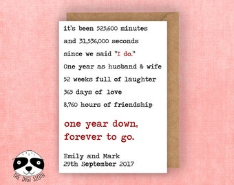 Personalised Anniversary Card, One Year Down Forever To Go, Marriage Anniversary, Custom Card, For Husband For Wife, Love Card - YL010