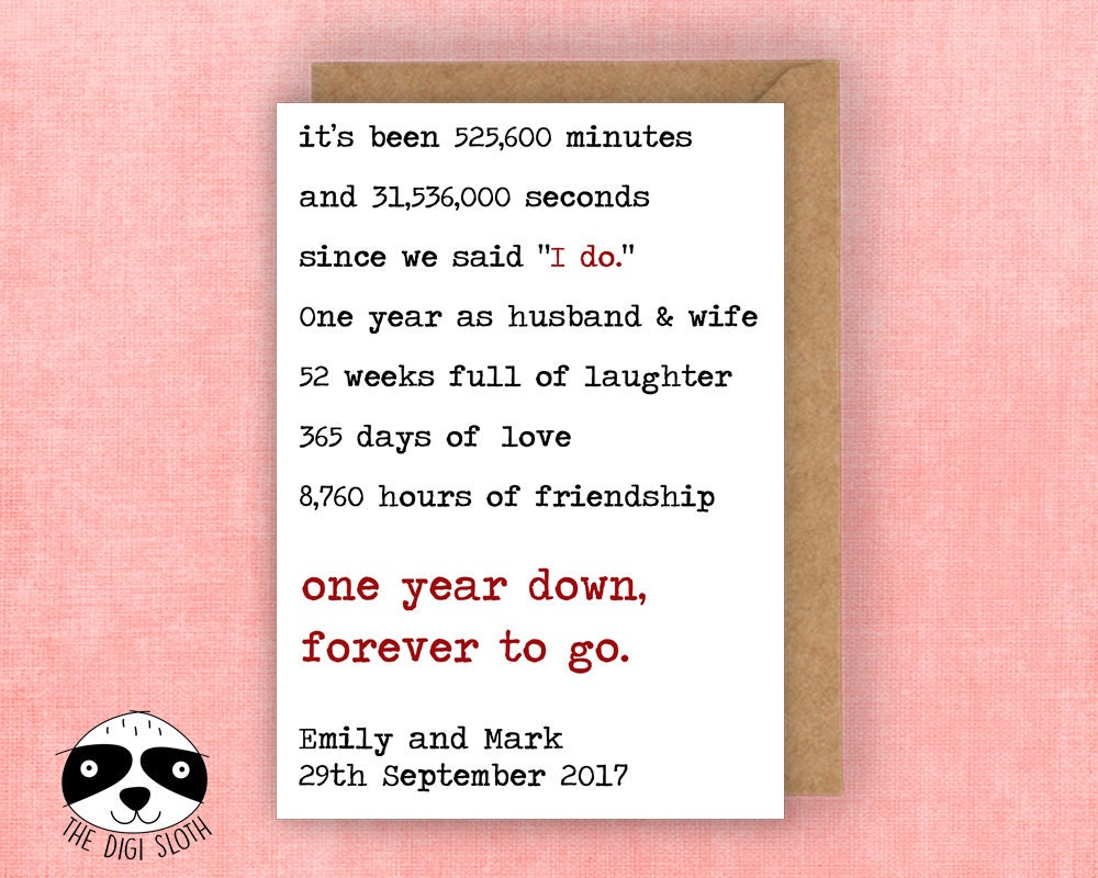 Personalised Anniversary Card One Year Down Forever To Go | Etsy
