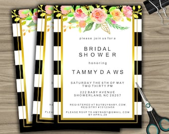 Personalized Bridal Shower Invitation - PRINTABLE - DIY - Custom Bridal Shower Invite - Black and White - Floral - Gold - L49