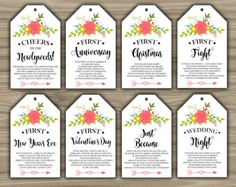 Milestone Wine Tags - Floral - Bridal Shower - Gift Basket Tags - First Year Milestones - INSTANT DOWNLOAD - Year Of Firsts PRINTABLE - L93