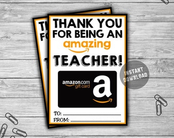 PRINTABLE Amazon Gift Card Holder - INSTANT DOWNLOAD - Thank You Amazing Teacher Appreciation Coach Last Minute Christmas Gift Idea - GC01
