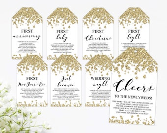 Milestone Wine Tags - Gold - Bridal Shower - Gift Basket Tags - First Year Milestones - INSTANT DOWNLOAD - Year Of Firsts - PRINTABLE - G005